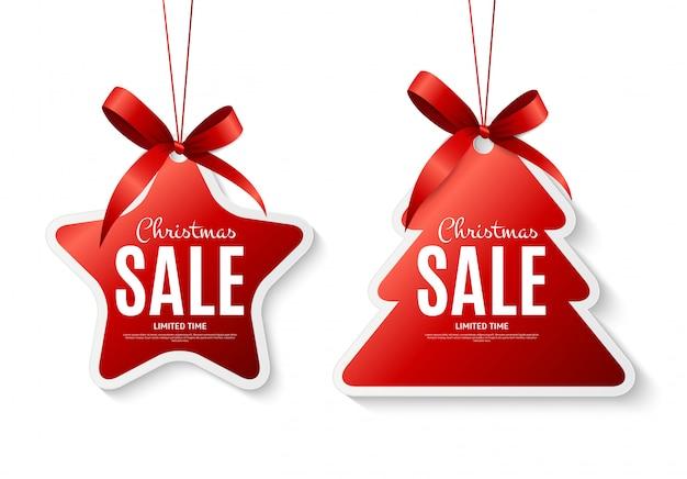 Рождественские продажи этикетки с бантом