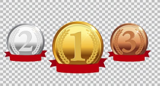 Золотая, серебряная и бронзовая медаль чемпиона с красной лентой