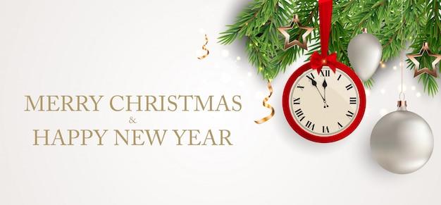 メリークリスマスと新年の背景。