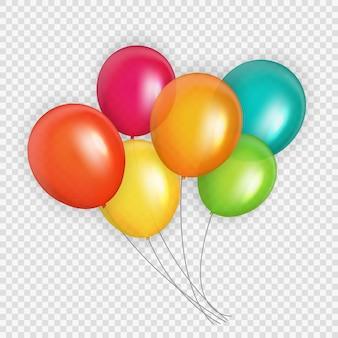 色の光沢のあるヘリウム風船のグループ。誕生日、記念日、お祝いパーティーの装飾のための風船のセット