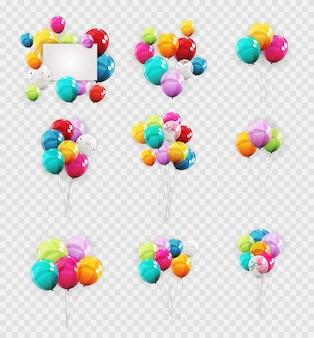 色の光沢のあるヘリウムのグループ
