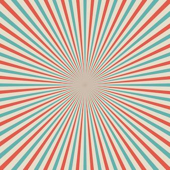 レトロなスタイルのポップアートサンバースト背景に放射状の線。