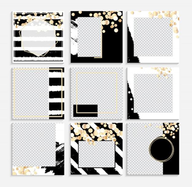 ソーシャルメディア投稿フレームのデザインフレーム背景テンプレートのセット。