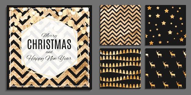 モダンなスタイルでキラキラスプラッシュと抽象的な冬、クリスマス、新年のシームレスパターンセット。