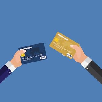 クレジットカードステータスアップグレードのコンセプト。