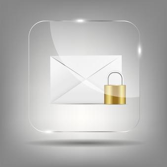 Значок почта в стеклянной кнопки векторная иллюстрация