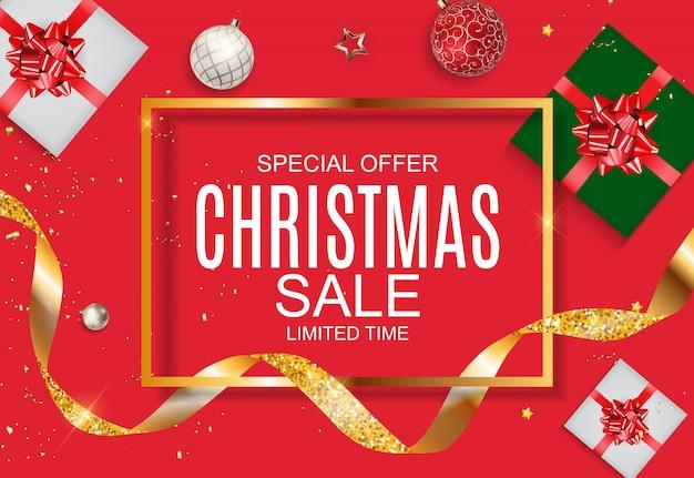 Рождество и новогодняя распродажа, шаблон купона на скидку. векторная иллюстрация