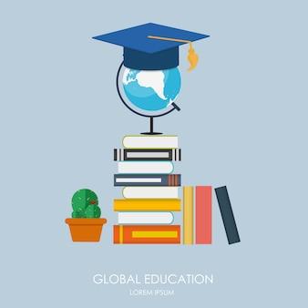 グローバル教育コンセプト。教育の動向と革新。