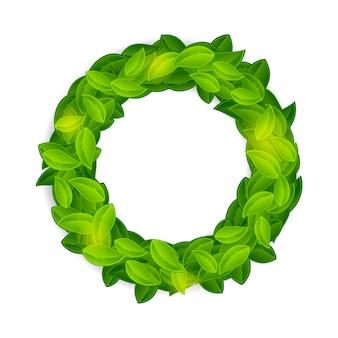 光沢のある自然な葉の花輪