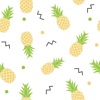 トロピックフルーツパイナップルのシームレスなパターン背景。