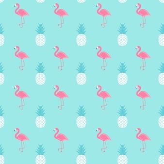 トロピックフルーツパイナップルとピンクのフラミンゴのシームレスなパターン背景。