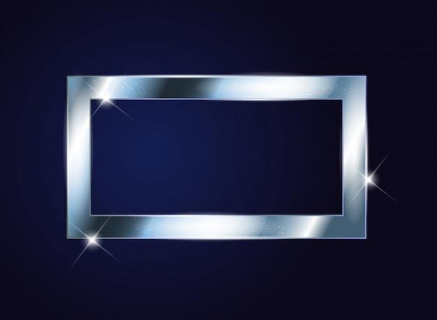 Серебряная краска блестящая текстурированная рамка на темном фоне.