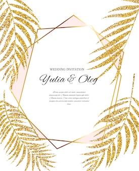 Красивое свадебное приглашение с силуэтом листьев пальмы