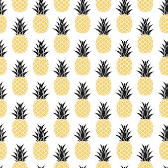 トロピックフルーツパイナップルのシームレスなパターンデザイン。