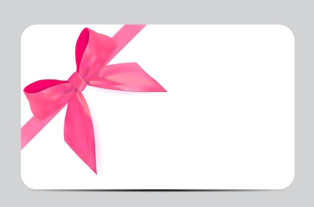 ピンクの弓とリボンを持つ空白のギフトカードテンプレート