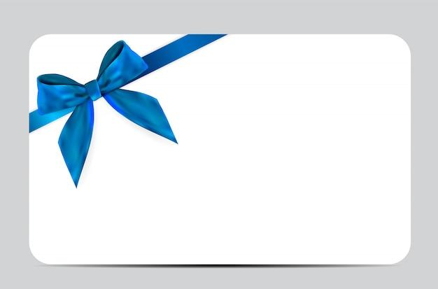 Пустой шаблон подарочной карты с синим бантом и лентой