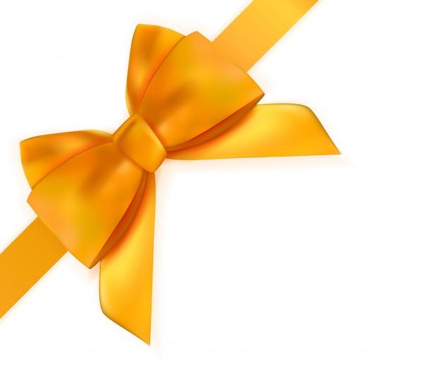 白で隔離されるリボンと装飾的なオレンジ色の弓