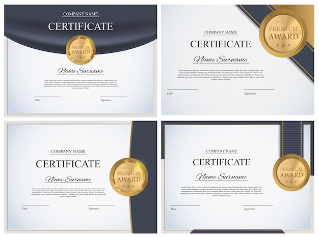 証明書テンプレートの背景コレクションセット。賞状デザインブランク。図