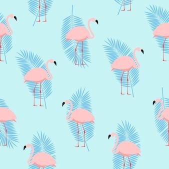 Лето розовый фламинго бесшовные узор фона. иллюстрация