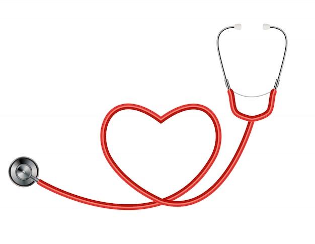 Медицинский инструмент стетоскоп, изолированных на белом с символом сердца