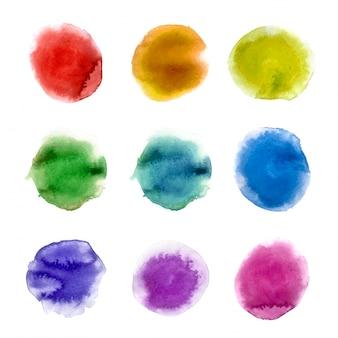 レインボー水彩絵の具汚れ背景セット。