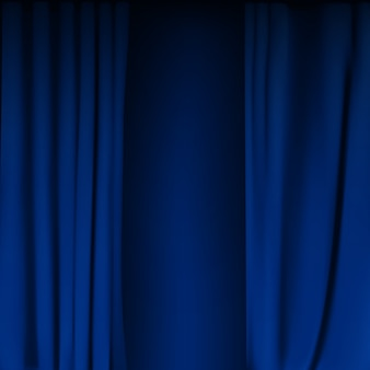 現実的なカラフルなブルーベルベットのカーテンが折り畳まれています。映画館の自宅でのオプションカーテン