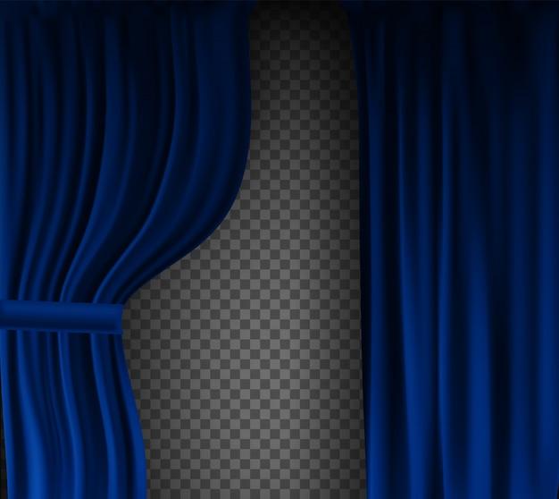 透明な背景に折り畳まれた現実的なカラフルなブルーベルベットのカーテン。映画館の自宅でのオプションカーテン