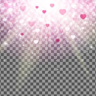 バレンタインデーの愛と感情の心のボケ味の光沢のある背景透明効果。
