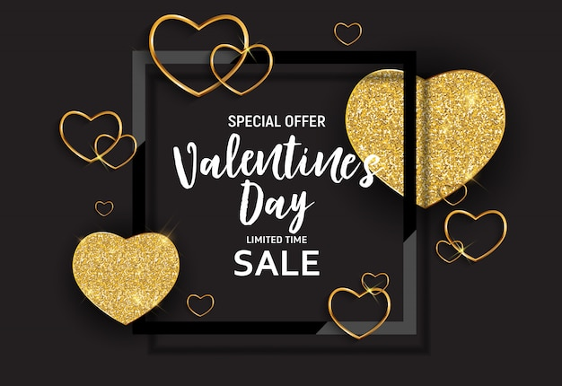 バレンタインデーの愛と感情の販売バナーデザイン。