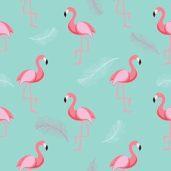 Симпатичные ретро бесшовные фламинго