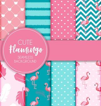 Симпатичные ретро бесшовные фламинго узор набор