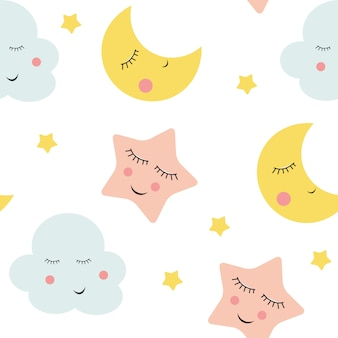 かわいい雲、星と月のシームレスパターン