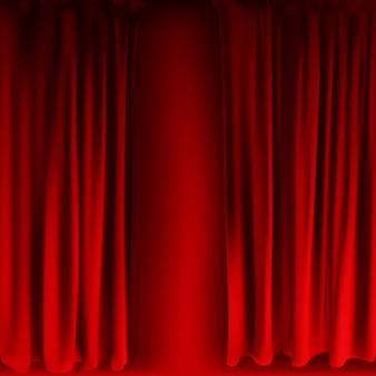 リアルなカラフルな赤いベルベットのカーテンが折り畳まれています。映画館で自宅のオプションカーテン。