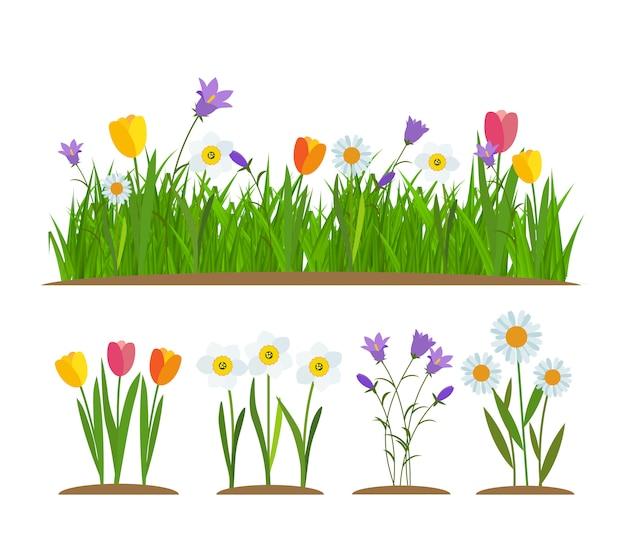 草と花のボーダーセット