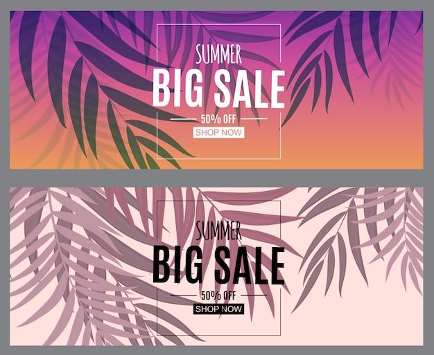 Абстрактная летняя распродажа баннер с пальмовых листьев. векторная иллюстрация
