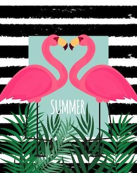 Симпатичный розовый фламинго летний фон векторные иллюстрации