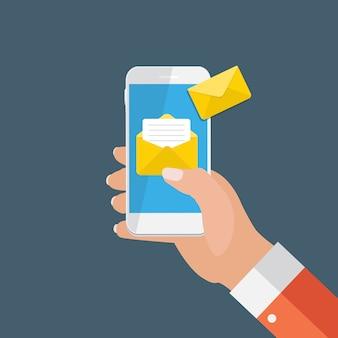 スマートフォンの画面通知の概念に関する新しい電子メール。ベクトルイラスト