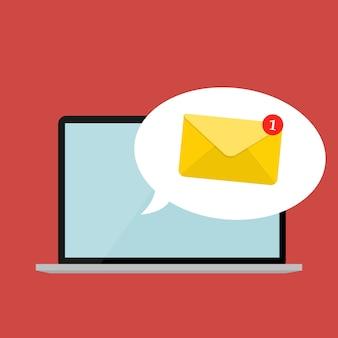 ノートパソコンの画面の通知の概念に関する新しい電子メール。ベクトルイラスト