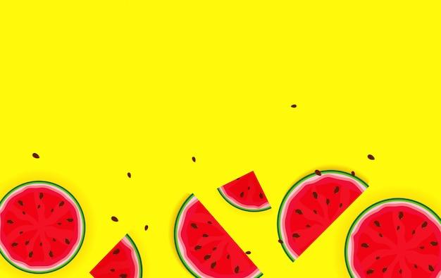 スイカからの夏の背景。ベクトルイラスト