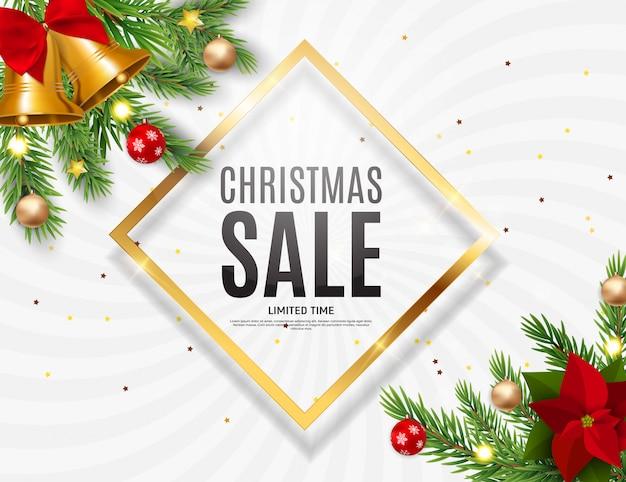 クリスマスと新年の販売、割引クーポンテンプレート。