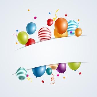 色の光沢のある幸せな誕生日風船バナー