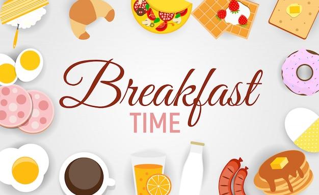 モダンなフラットスタイルの朝食アイコンセット