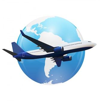 Полет самолета над картой мира.
