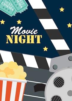 Кино ночной кинотеатр плоский постер