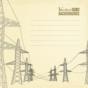 高電圧の電力線。
