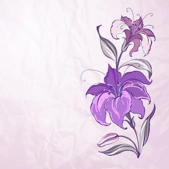 Абстрактный фон с цветущими лилиями
