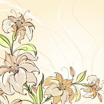 Коричневый фон с цветущими лилиями