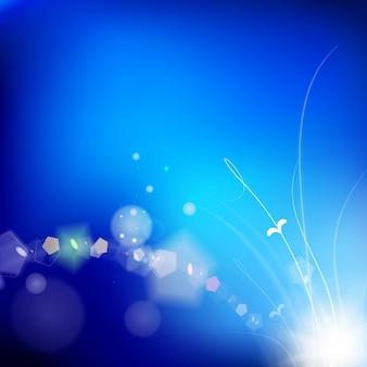 Яркий синий фон с светящимися листьями
