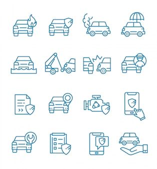 Набор иконок автострахования с стиль контура.