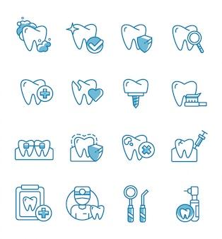 アウトラインスタイルの歯科アイコンのセット。